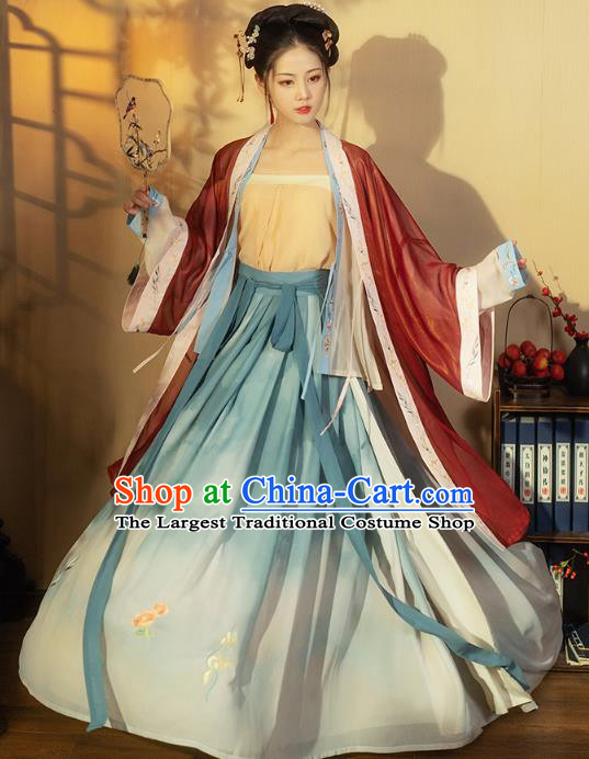 China Ancient Young Beauty Hanfu Dress Garment Traditional Song Dynasty Nobility Lady Costumes
