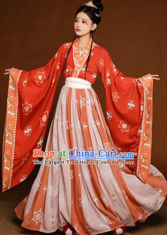 China Traditional Jin Dynasty Court Princess Historical Clothing Ancient Palace Beauty Hanfu Dress Costumes