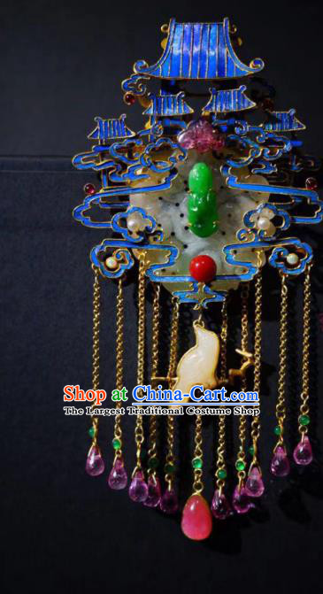 China Traditional Cloisonne Palace Jade Necklace Jewelry Accessories Qing Dynasty Amethyst Tassel Necklet Pendant