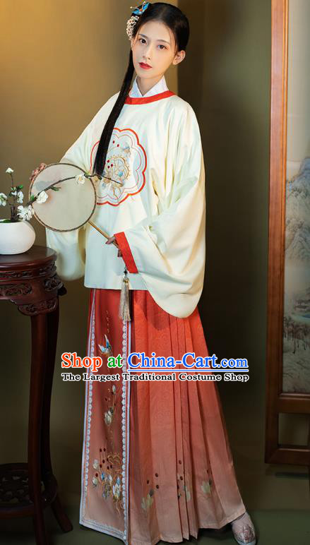 China Traditional Embroidered Hanfu Costumes Ancient Ming Dynasty Young Lady Historical Clothing