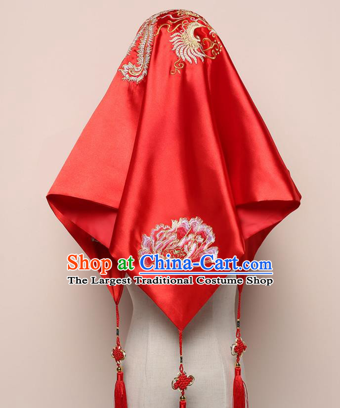 Chinese Wedding Red Satin Kerchief Classical Headdress Traditional Embroidered Phoenix Peony Bridal Veil
