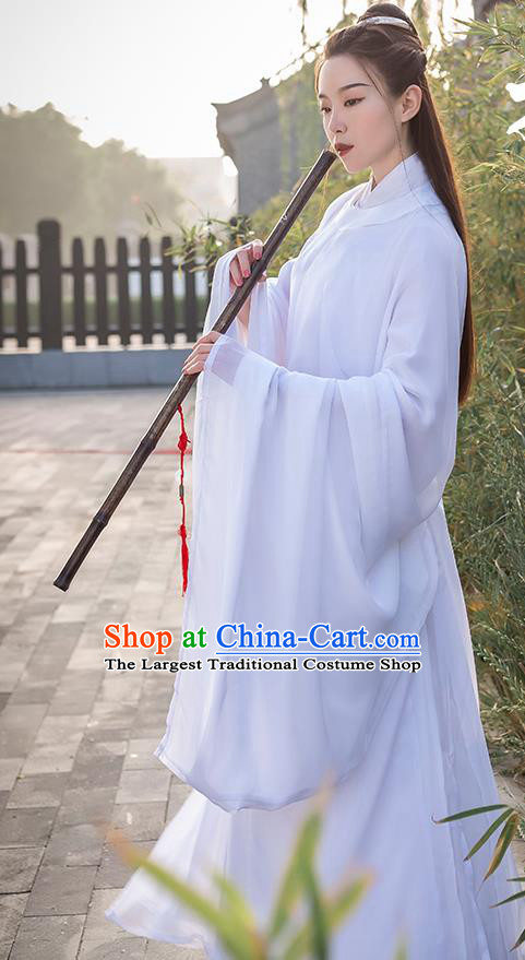 China Traditional Ming Dynasty Nobility Childe Historical Costume Ancient Swordsman White Hanfu Clothing