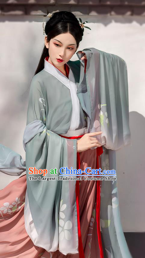 China Traditional Jin Dynasty Royal Princess Historical Costume Ancient Palace Beauty Hanfu Dress Clothing