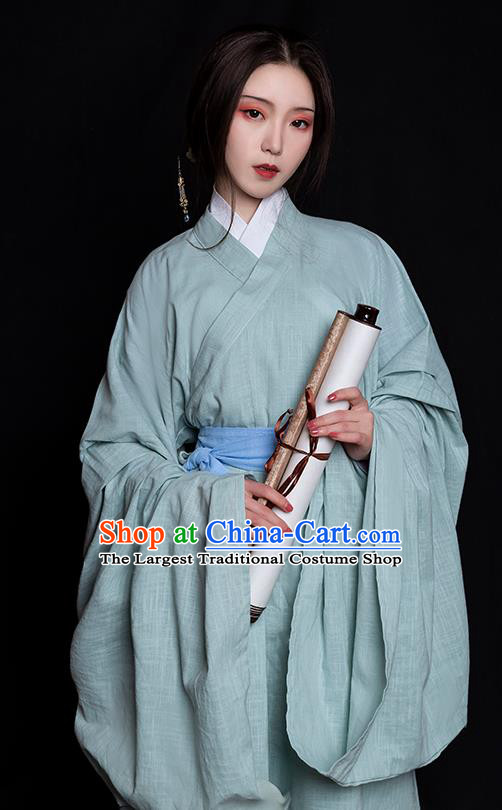 China Ancient Young Beauty Hanfu Dress Clothing Traditional Jin Dynasty Noble Lady Historical Costume