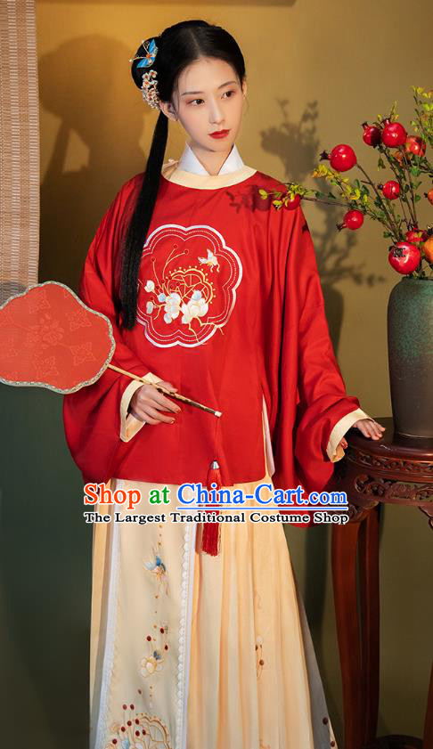 China Ancient Young Lady Hanfu Costumes Traditional Ming Dynasty Historical Clothing
