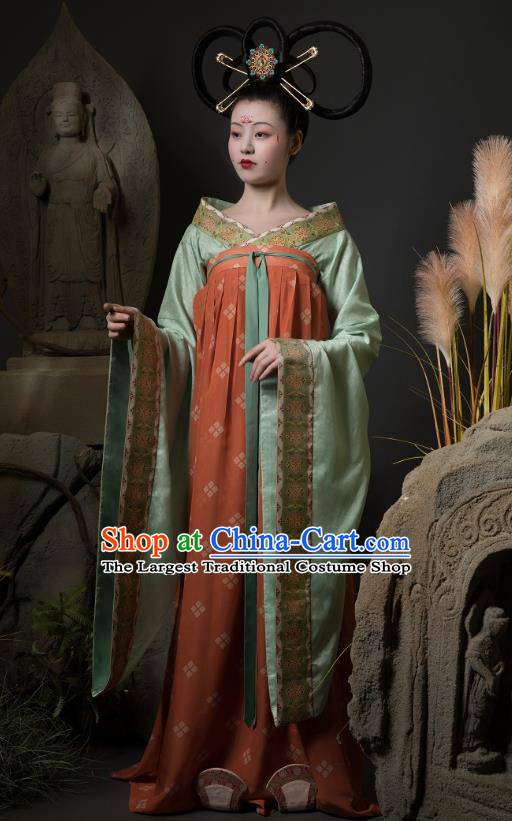 China Ancient Court Lady Hanfu Dress Traditional Early Tang Dynasty Palace Beauty Historical Costumes