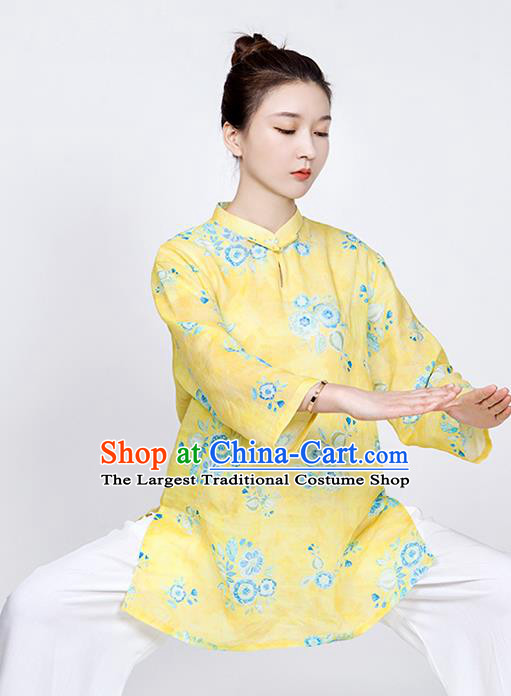 China Printing Flowers Yellow Flax Blouse Martial Arts Clothing Traditional Tai Chi Training Costume