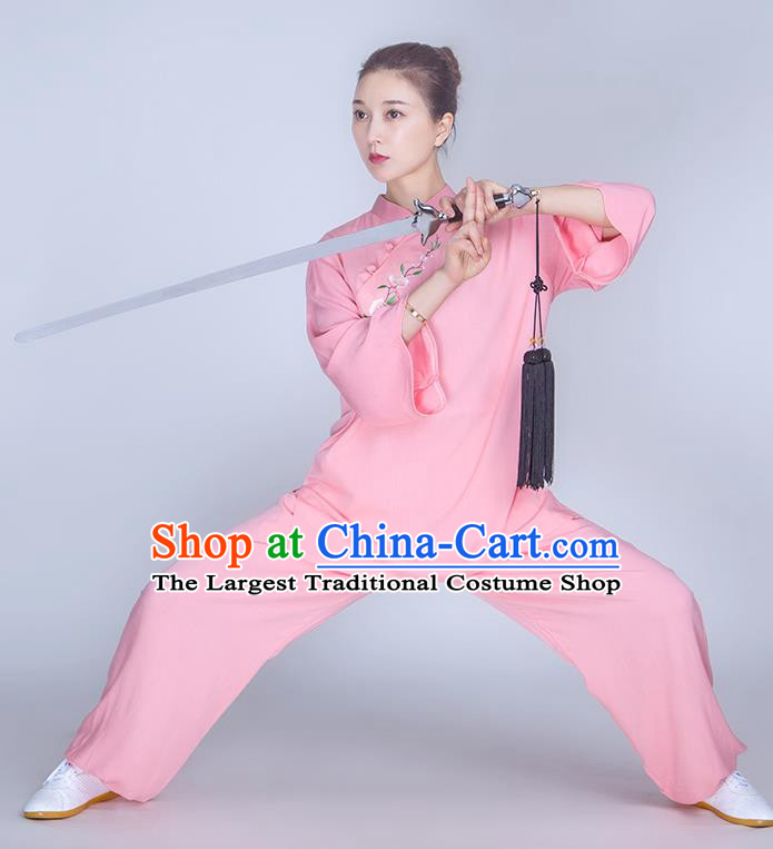 China Martial Arts Embroidered Clothing Traditional Tai Chi Training Costume Kung Fu Pink Flax Uniforms