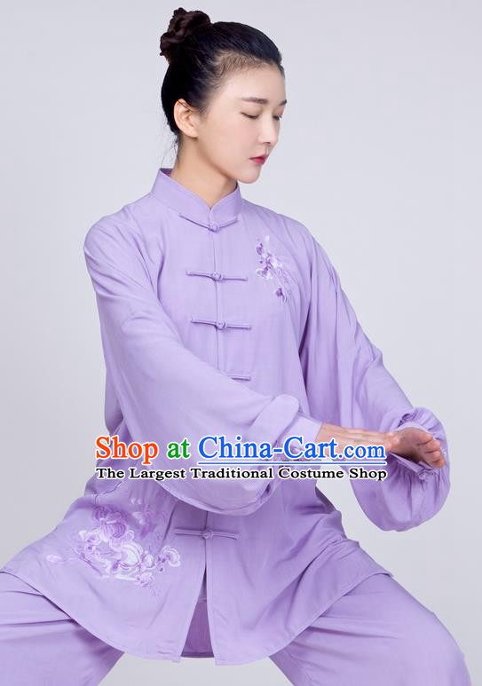China Traditional Tai Chi Training Costume Kung Fu Lilac Flax Uniforms Martial Arts Embroidered Clothing