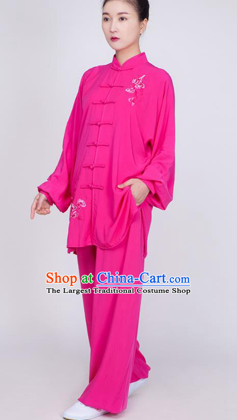China Traditional Tai Chi Training Embroidered Costume Kung Fu Rosy Flax Uniforms