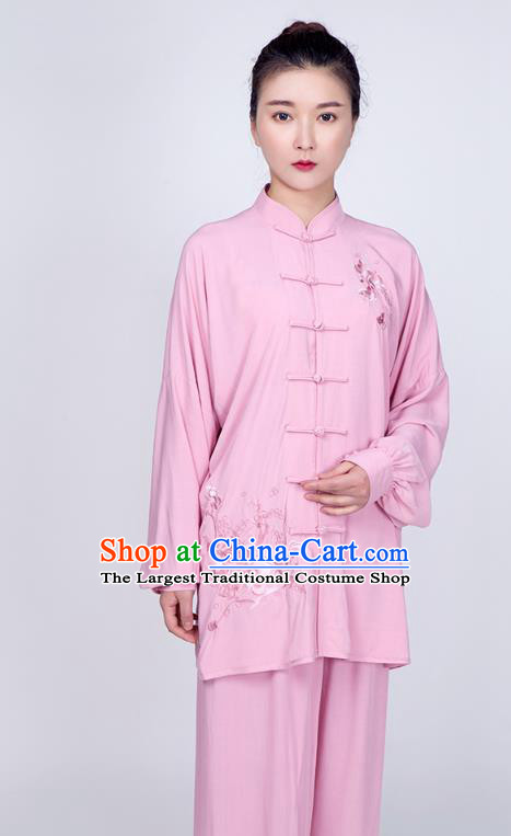 China Kung Fu Peach Pink Flax Uniforms Traditional Tai Chi Training Embroidered Costume