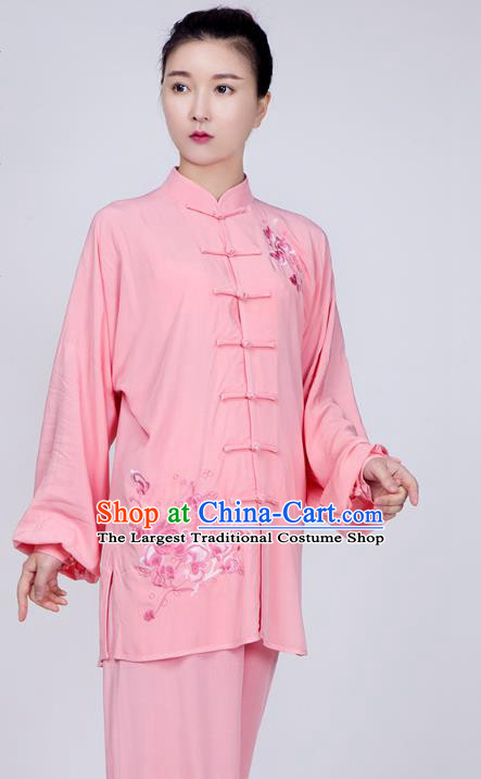 China Martial Arts Embroidered Costume Kung Fu Pink Flax Uniforms Traditional Tai Chi Training Costume