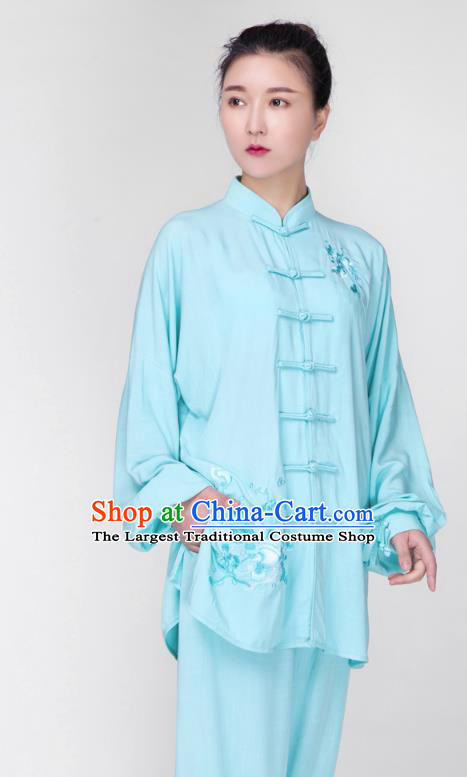 China Traditional Tai Chi Training Costume Martial Arts Embroidered Clothing Kung Fu Light Blue Flax Uniforms