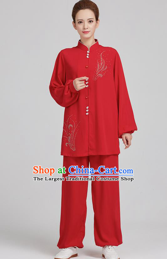 China Martial Arts Red Uniforms Kung Fu Costume Tai Chi Exercise Clothing