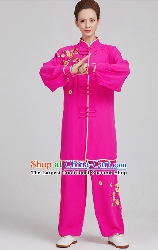 China Tai Chi Training Embroidered Plum Blossom Rosy Uniforms Top Kung Fu Costumes