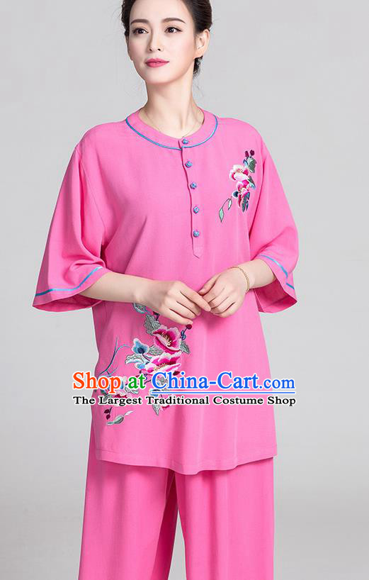 China Kung Fu Clothing Traditional Martial Arts Embroidered Rosy Flax Short Sleeve Uniforms Summer Tai Chi Costumes