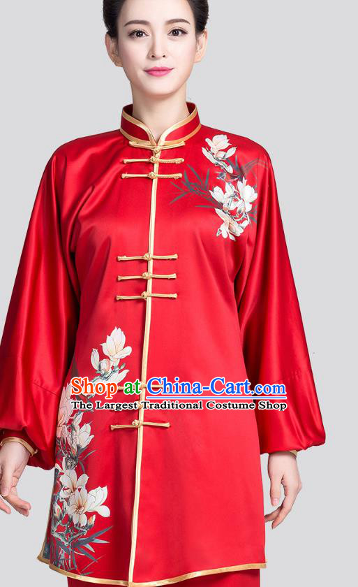 China Kung Fu Tai Chi Clothing Traditional Martial Arts Printing Mangnolia Red Satin Uniforms