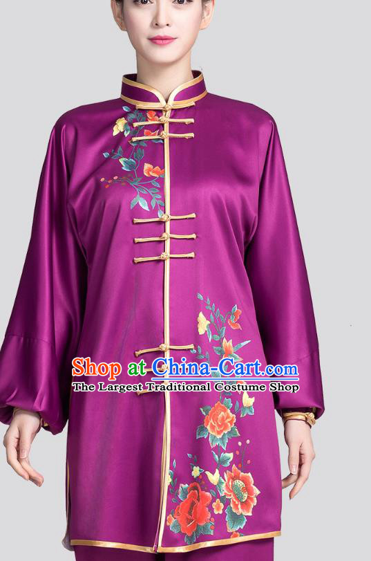 China Tai Chi Training Clothing Traditional Martial Arts Printing Rose Purple Satin Uniforms