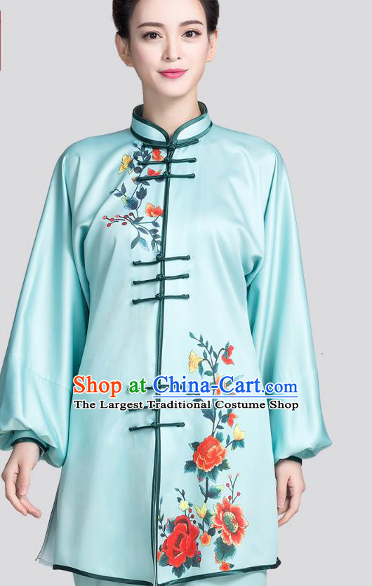China Martial Arts Clothing Traditional Tai Chi Printing Peony Light Blue Satin Uniforms