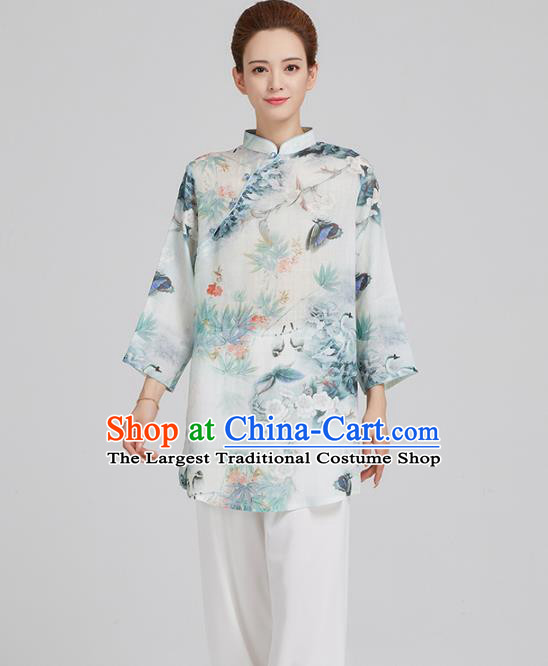 China Top Kung Fu Costume Tai Chi Clothing Tang Suit Printing Pear Blossom White Flax Shirt