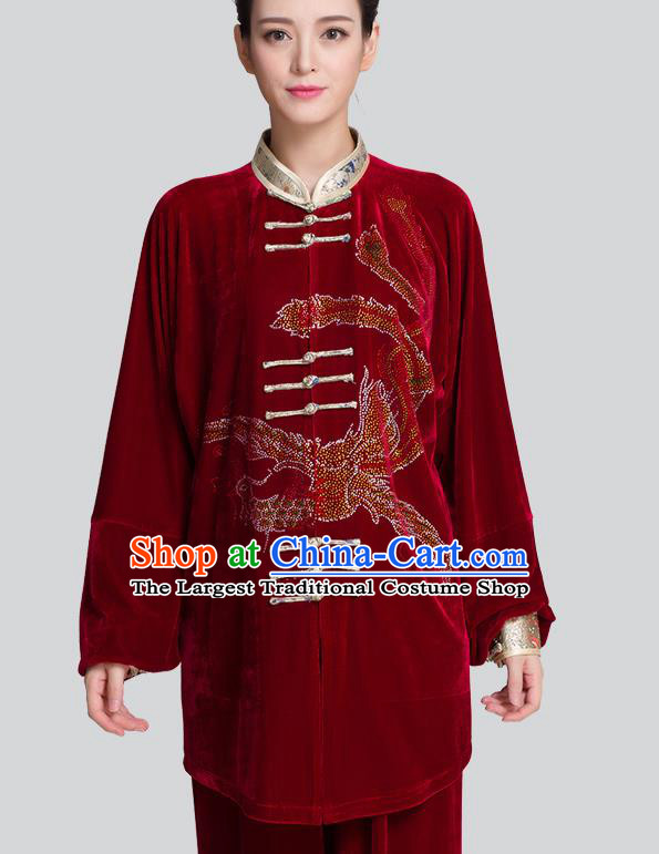 China Martial Arts Clothing Traditional Diamante Phoenix Red Pleuche Uniforms