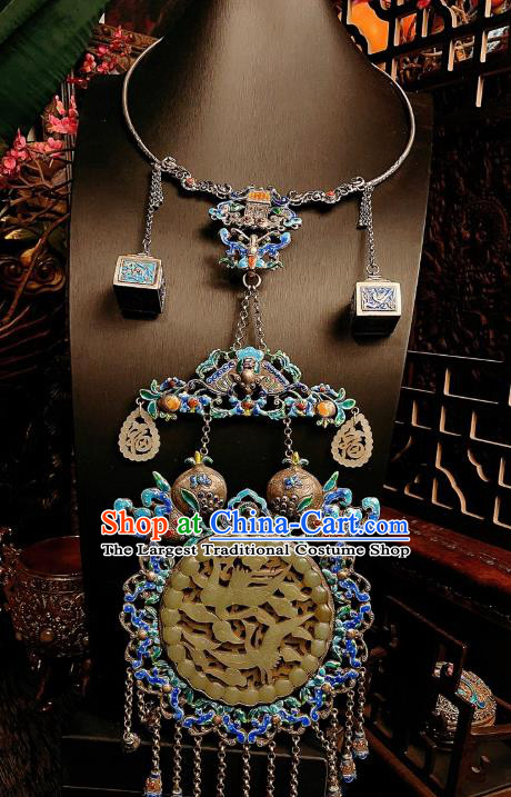 China Traditional Cloisonne Silver Necklace Accessories Handmade Jade Carving Crane Necklet Pendant