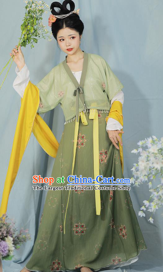 China Ancient Tang Dynasty Young Lady Historical Costume Traditional Green Hanfu Outfits
