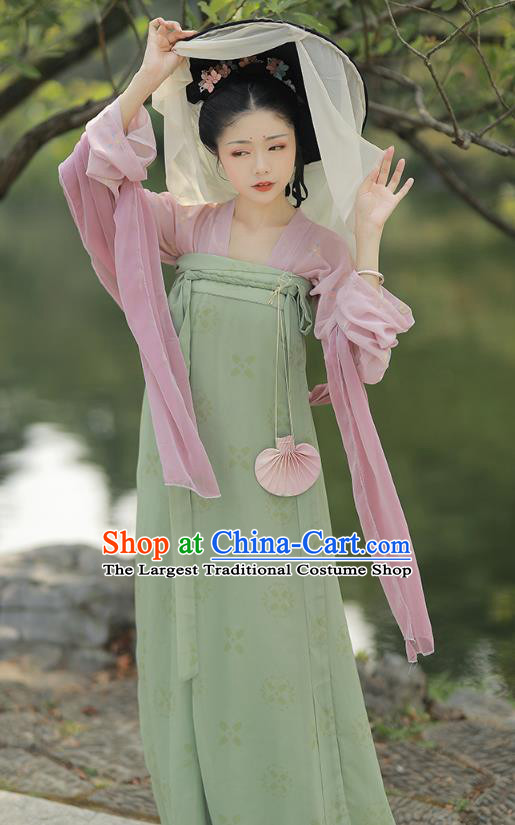 China Traditional Tang Dynasty Village Girl Historical Costume Ancient Country Lady Hanfu Clothing