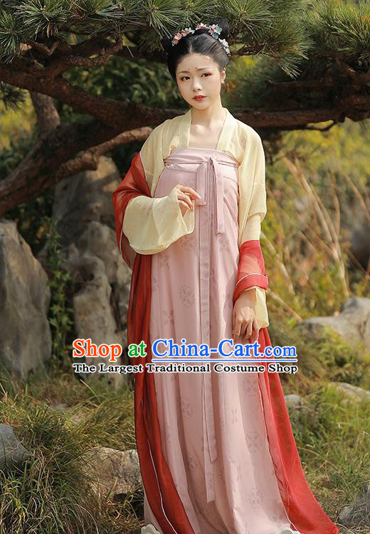 China Ancient Young Beauty Hanfu Dress Traditional Tang Dynasty Civilian Lady Historical Costume