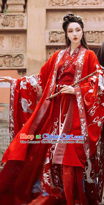 China Traditional Embroidered Wedding Hanfu Costumes Ancient Jin Dynasty Palace Beauty Historical Clothing Full Set