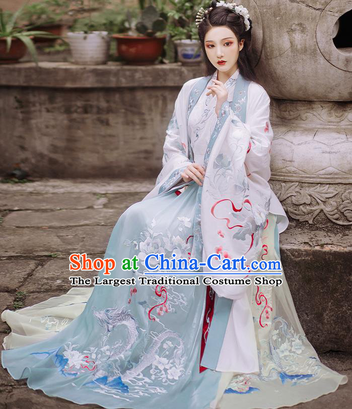 Traditional China Jin Dynasty Palace Beauty Embroidered Hanfu Dress Ancient Royal Princess Historical Clothing