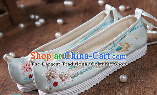 China Traditional Hanfu Pearls Shoes Embroidered Peach Blossom Green Satin Shoes Ancient Ming Dynasty Princess Shoes