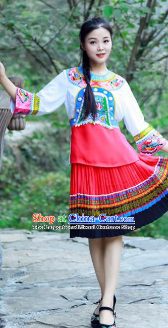 Chinese Miao Nationality Young Lady Clothing Hmong Ethnic Folk Dance Costumes