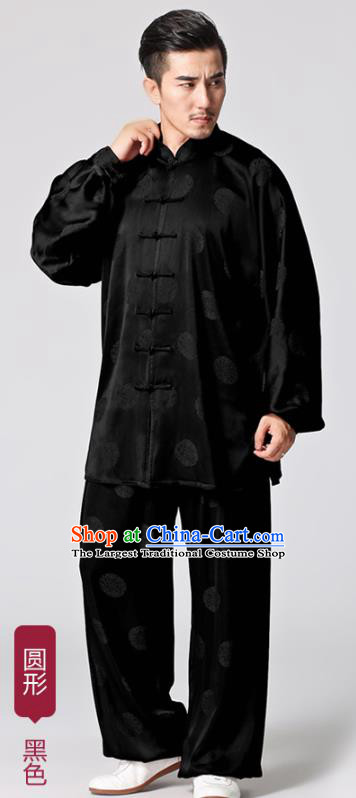 Chinese Traditional Circle Pattern Black Silk Costumes Tai Chi Martial Arts Uniforms