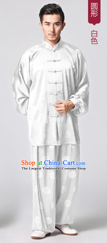 Chinese Tai Chi Martial Arts White Silk Uniforms Traditional Kung Fu Circle Pattern Costumes
