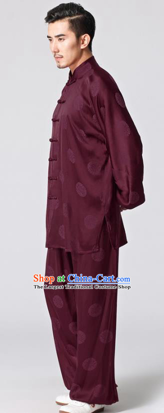 Chinese Traditional Martial Arts Circle Pattern Costumes Tai Chi Kung Fu Wine Red Silk Uniforms