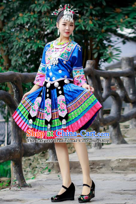 Chinese Miao Nationality Folk Dance Clothing Xiangxi Hmong Ethnic Woman Royalblue Outfits and Headdress