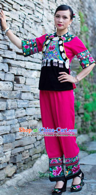 Chinese Miao Nationality Clothing Xiangxi Hmong Ethnic Woman Informal Rosy Outfits and Hair Accessories