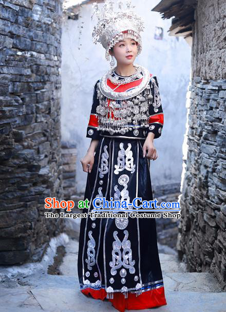 Chinese Miao Nationality Stage Show Clothing Hmong Ethnic Female Folk Dance Black Outfits and Silver Hair Jewelry