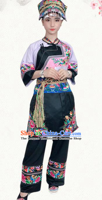 Chinese Yi Nationality Dress Stage Show Clothing Ethnic Woman Informal Pink Outfits Costumes and Headwear