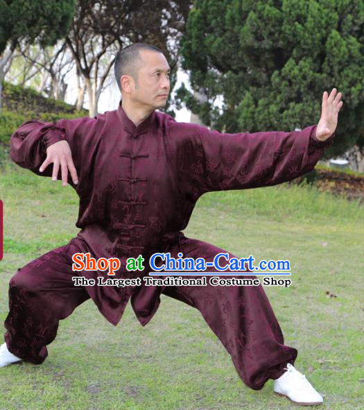 Chinese Traditional Oracle Pattern Purple Silk Uniforms Men Clothing Tai Chi Kung Fu Costumes