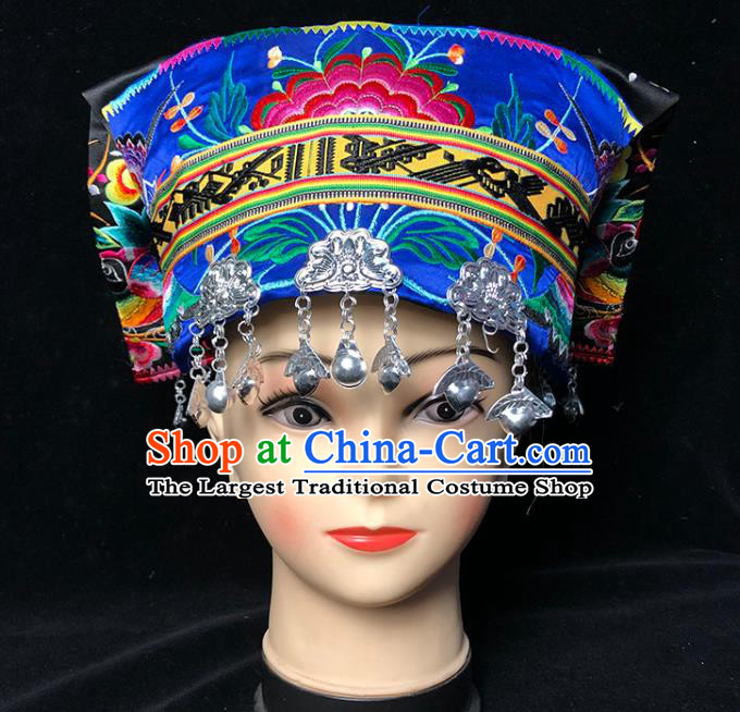 China Traditional Yi Nationality Stage Show Embroidered Blue Hat Xiangxi Tujia Ethnic Minority Woman Silver Tassel Headwear