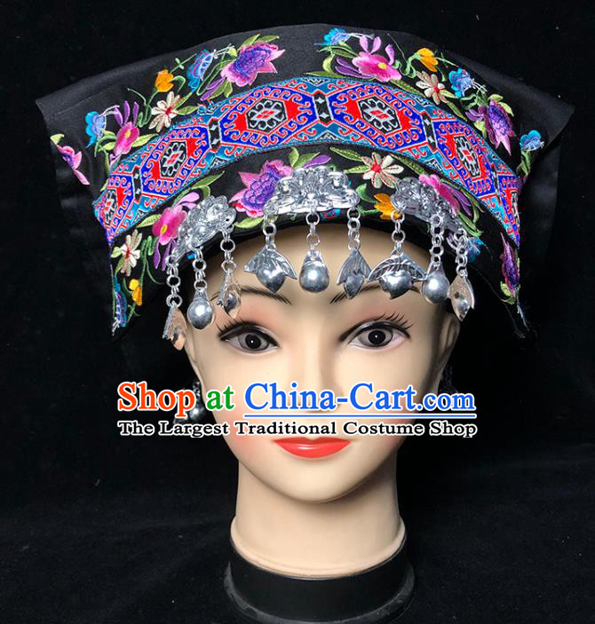 China Traditional Yi Nationality Female Embroidered Black Hat Xiangxi Ethnic Minority Folk Dance Silver Tassel Headwear