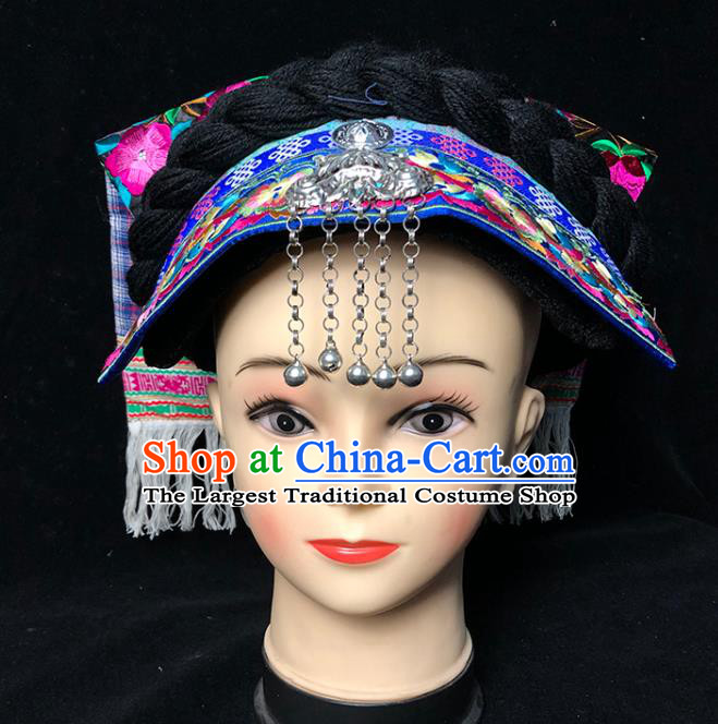 China Ethnic Minority Folk Dance Silver Bells Tassel Headwear Traditional Yi Nationality Embroidered Hat