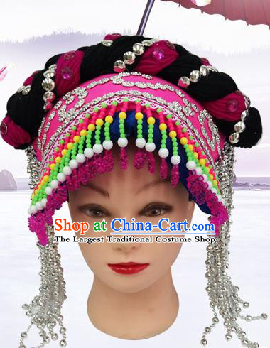 China Bouyei Ethnic Minority Folk Dance Headwear Traditional Yi Nationality Silver Tassel Rosy Hat