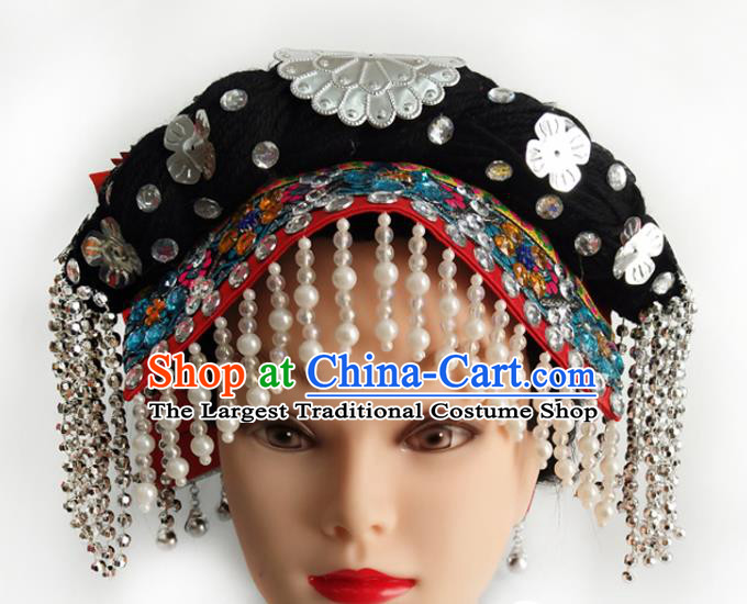 China Yi Ethnic Folk Dance Headwear Traditional Nationality Minority Beads Tassel Hat