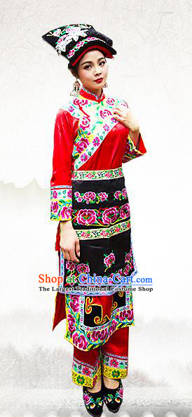 Chinese Qiang Nationality Female Informal Clothing Xiangxi Ethnic Folk Dance Red Outfits and Headwear