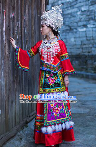 Chinese Dong Nationality Wedding Dress Clothing Ethnic Bride Stage Performance Red Outfits and Hat