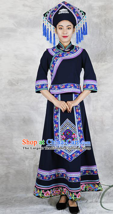 Chinese Zhuang Minority Informal Clothing Nationality Woman Black Dress Outfits Ethnic Folk Dance Costume and Headwear