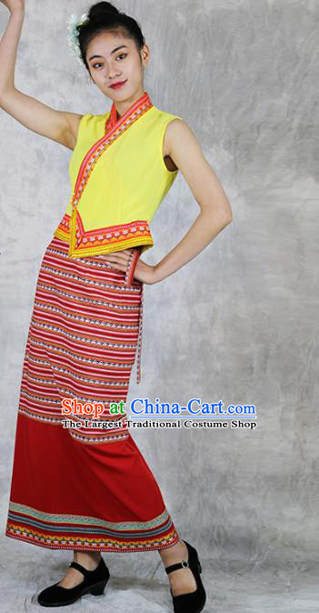 Chinese Minority Informal Dress Clothing Yunnan Ethnic Woman Costume Dai Nationality Stage Performance Outfits